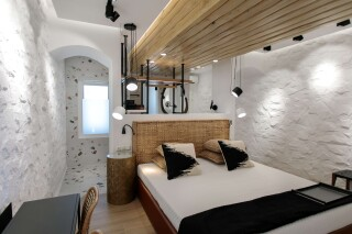 Natura double room with sea view alkyoni beach hotel bed
