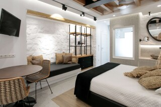 Natura double room with sea view alkyoni beach hotel bedroom
